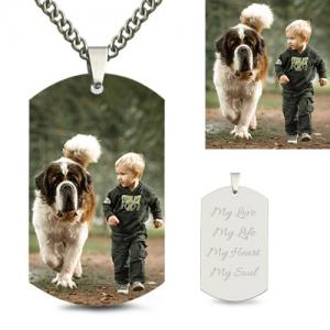Colourful Custom Photo Pendant For Gift In Stainless Steel Dog Tag Necklace For Baby Engraved Free