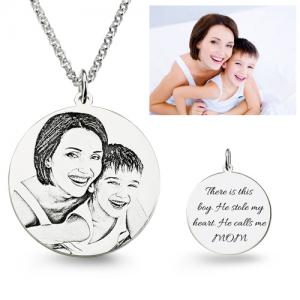 Customized Photo Engraved Necklace Sterling Silver