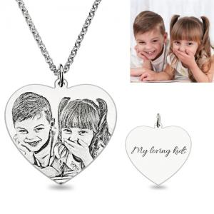 Personalized Engraved Heart Shaped Photo Necklace