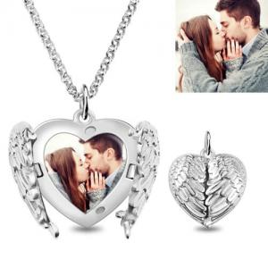 Engravable Angel Wings Sterling Silver Heart Photo Locket Necklace