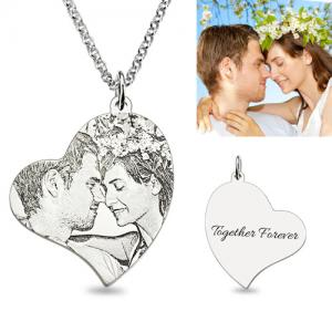 Personalized Custom Necklace Sterling Silver Love-Heart Photo pendant