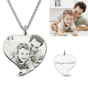 Personalized Custom Necklace Heart Pendant Steeling Silver with Customized Photo and Message For Mother